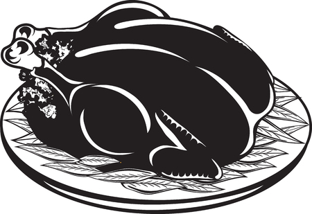 Vector illustration of a cooked turkey icon or symbol Illusztráció