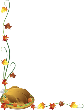 Thanksgiving border with a turkey and fall leaves
