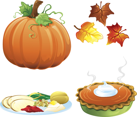 Illustration of different fall and autumn icons