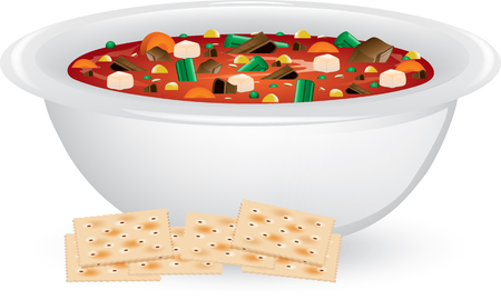 Illustration of a bowl of vegetable and beef soup with saltine crackers.