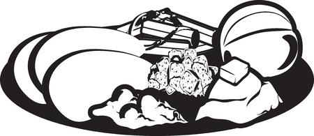 Vector illustration of a Thanksgiving dinner icon or symbol Illusztráció