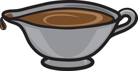 Illustrazione vettoriale di un'icona o un simbolo di salsiera Vettoriali