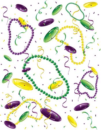 Mardi Gras confetti, beads and dublooms.