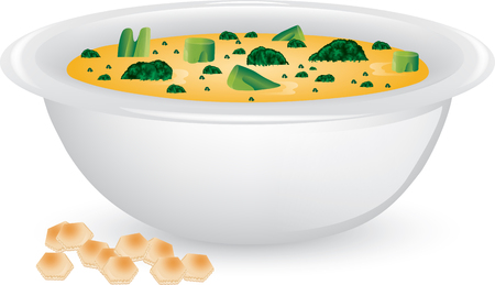 Illustration of a bowl of broccoli and cheese soup with soup crackers. Standard-Bild - 127491207