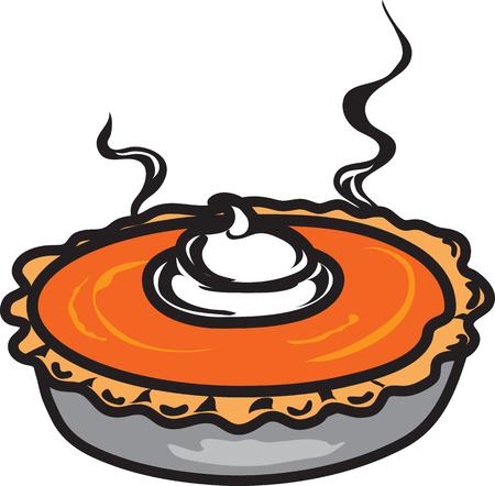 Vector illustration of a pumpkin pie icon or symbol