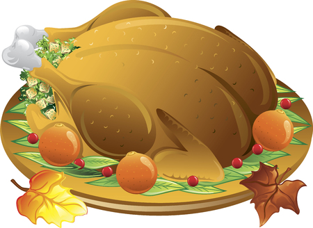 Illustration of fall leaves and a roasted stuffed turkey