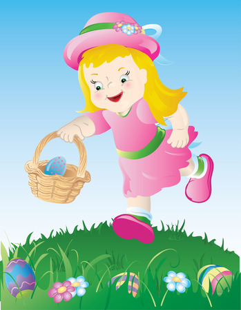 Little girl in pink, hunting for Easter eggs.