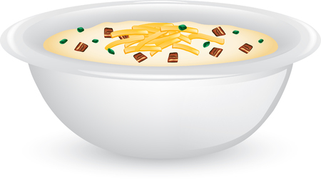 Illustration of a bowl of potato soup with cheese and bacon.