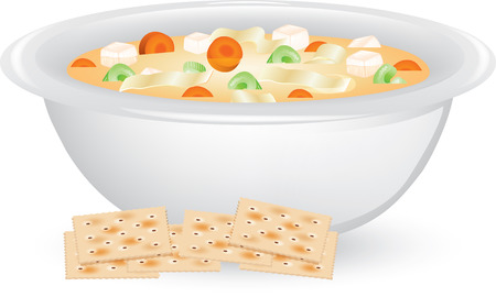 Illustration of a bowl of Chicken Noodle Soup with saltine crackers.