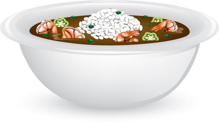 Illustration of a bowl of shrimp and okra gumbo with rice. Ilustrace