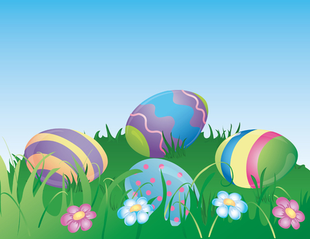Illustration of  dyed easter eggs hiding in the grass. Illustration