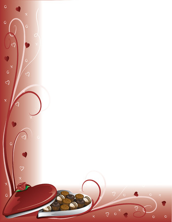Illustration of a Valentine border with a box of chocolates
