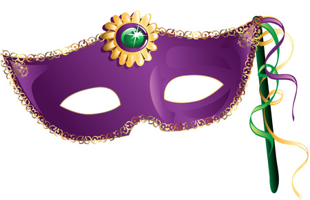 Illustration of a colorful Mardi Gras mask.