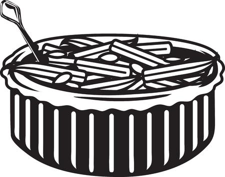 Illustration vectorielle d'une icône ou d'un symbole de casserole de haricots verts