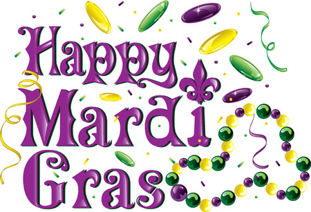 Colorful text that says Happy Mardi Gras Stock Vector - 127491229