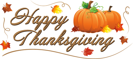 Happy Thanksgiving Text with fall pumpkins and leaves