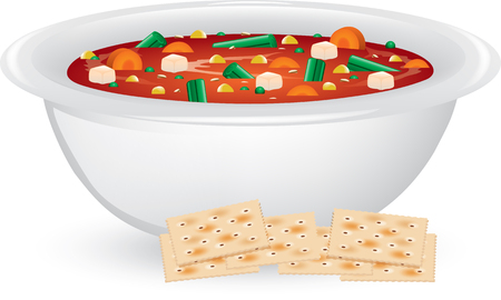 Illustration of a bowl of vegetable soup with saltine crackers. Standard-Bild - 127491230
