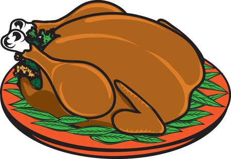 Vector illustration of a cooked turkey icon or symbol Ilustracja