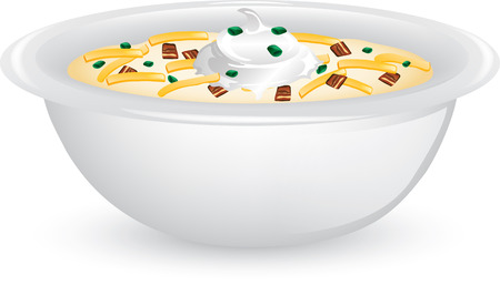 Illustration of a bowl of potato soup with cheese, bacon and sour cream.