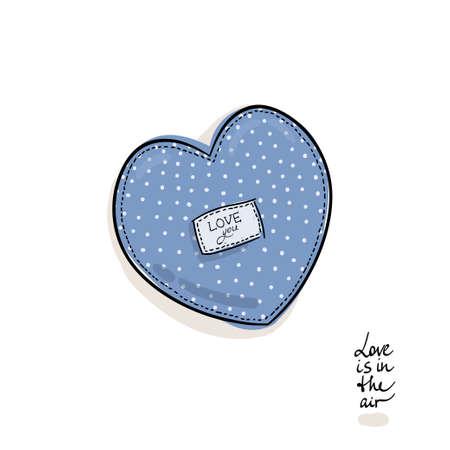 corazones azules: El amor está en el aire. Almohada de corazón. lunares.