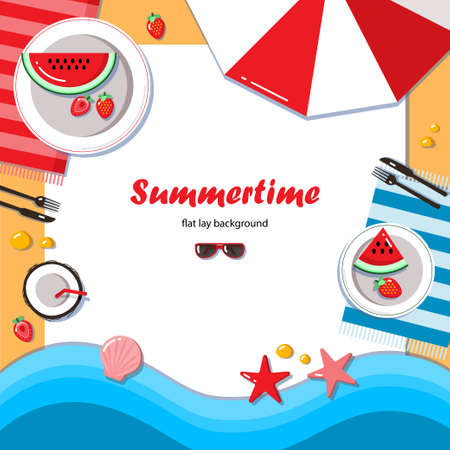 layout strawberry: Summertime flat lay background. Summer picnic on the beach with watermelon, strawberry and coconut cocktail. It can be used in advertising, web design, graphic design for the layout.