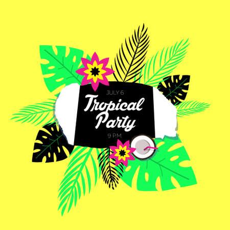 flores exoticas: Modelo del cartel de fiesta tropical. El fondo es un papel rasgado estilizada, hojas de palma de flores tropicales y exóticas. Vectores