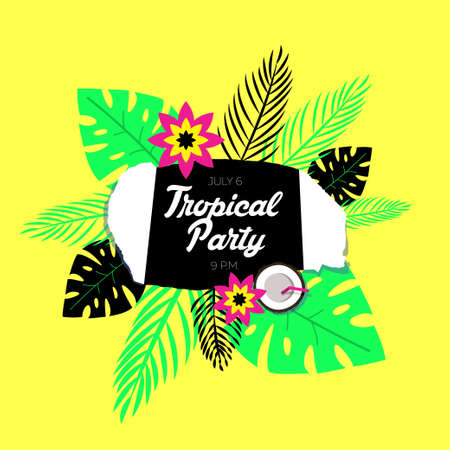 flores exoticas: Poster template of tropical party. The background is a stylized torn paper, palm leaves of tropical and exotic flowers. Vectores