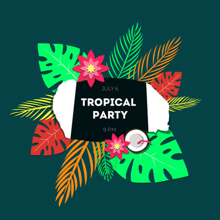 exotic flowers: Poster template of tropical party. The background is a stylized torn paper, palm leaves of tropical and exotic flowers. Illustration