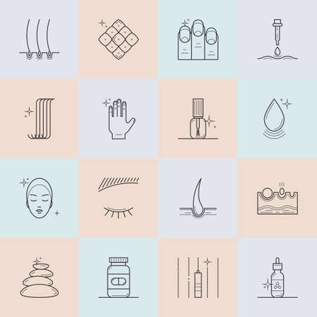 pharmaceuticals: Set of icons on the theme of beauty and health of hair, skin and nails. Made in trendy line style vector. Emblems for cosmetics, pharmaceuticals, manicure salons. Medical cosmetology.