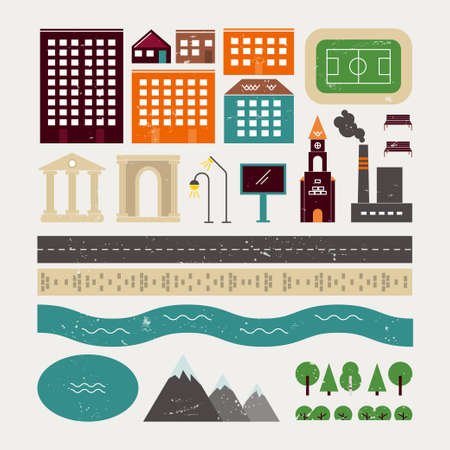 guidebook: Elements of urban architecture and some natural objects. It can be used to create customized vector illustrations, maps, guidebook. The small town with a texture in vintage style. Illustration