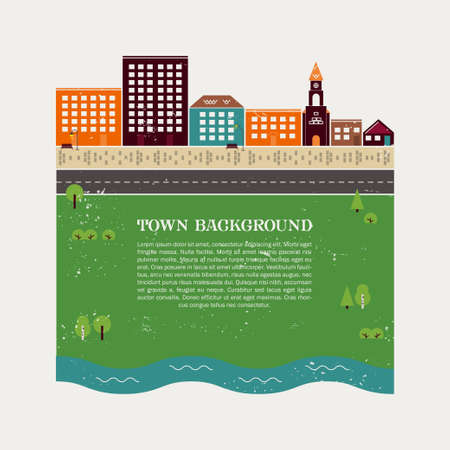 quay: Town background vector template with vintage texture. It can be used for real estate advertising, creating guidebooks and maps.