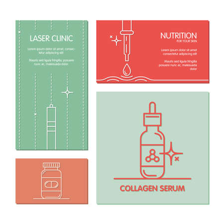 Set of business cards vector template on the theme of beauty and health tools. Made in trendy color line style. Illustrations for cosmetics, pharmaceuticals, medical cosmetology, laser clinic.