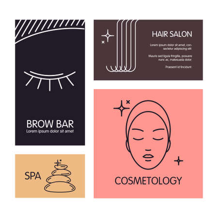 brow: Set of business cards vector template on the theme of beauty and health. Emblems for hair and brow salon, cosmetology, spa salon, barbershop.