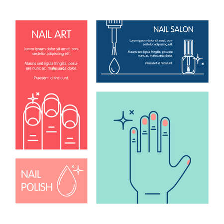french manicure: Set of business cards vector template on the theme of beauty and health of nails. Emblems for nail cosmetics, manicure salons, medical nails cosmetology.