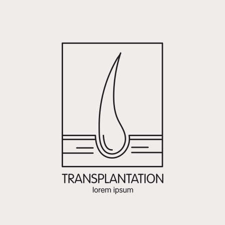 transplant: Vector line icon on the theme of of hair transplantation. Emblems for hair transplant clinic, hair medical cosmetics.