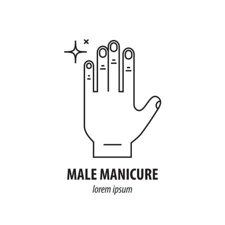 Vector line icon with the image of well-groomed men s hands with nails and sparkling highlights, symbolizing purity and care. It can be used for male manicure salon or web icon.