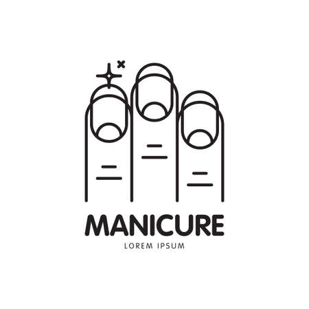 cuticle: Vector line icon with the image of beautiful nails and sparkling highlights, symbolizing purity and care. It can be used for manicure salon or web icon.