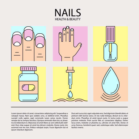 pharmaceuticals: Set of color line icons on the theme of beauty and health of nails. Emblems for nail cosmetics, pharmaceuticals, manicure salons, medical nails cosmetology.