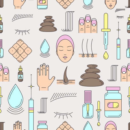 pore: Vector seamless pattern on the theme of beauty and health of hair, skin and nails. Made in trendy line color style. Medical cosmetology.