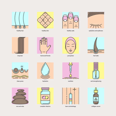 cosmetology: Set of color line icons on the theme of beauty and health of hair, skin and nails. Emblems for cosmetics, pharmaceuticals, manicure salons, medical cosmetology. Illustration