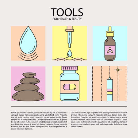 pharmaceuticals: Set of vector icons on the theme of beauty and health tools. Made in trendy color line style. Emblems for cosmetics, pharmaceuticals, medical cosmetology, spa. Illustration