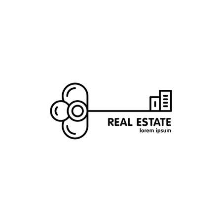 real estate agency: Vector line logo with the image of key and silhouettes of houses. It can be used for a real estate agency, workshop for the production of keys. Made in trendy line style. Illustration