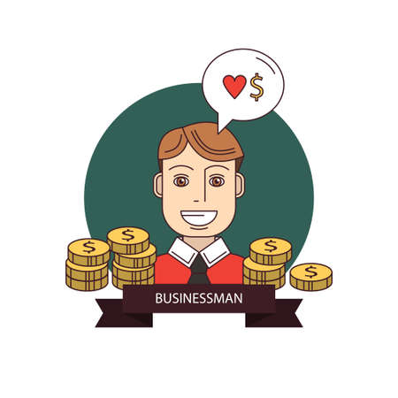 Businessman smile. Successful man with money, illustration