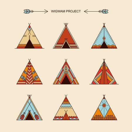 Wigwams with ornamental elements. Line style. Boho elements. illustration