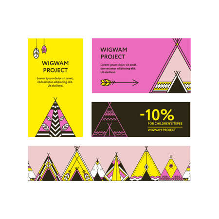 ornamental elements: Business cards and promotional  banners with a picture of wigwams. Seamless border decorated wigwams with ornamental elements. Line style. Boho elements. template Illustration