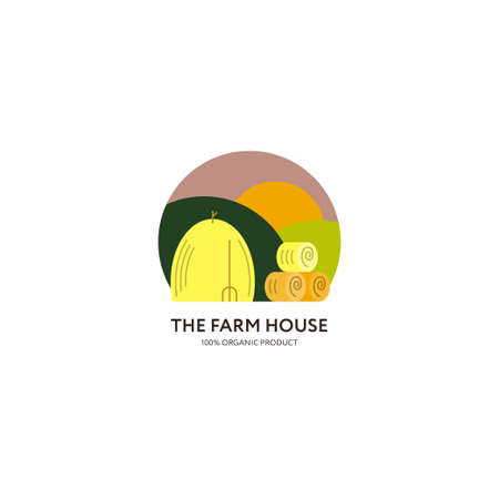 hay bale: with haystacks, fields and the sun. Flat style. Round composition. illustration. Illustration