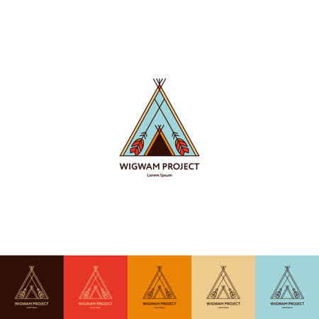 wigwam: Set of wigwam . Colorful and line style. Indian teepee with ornamental elements. Boho elements. illustration