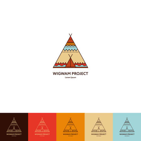 Set of wigwam . Colorful and line style. Indian teepee with ornamental elements. Boho elements. illustration