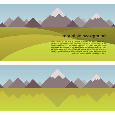 pinnacle: Mountain Background with geometrical shapes in a trendy flat style. Seamless border with the image of mountains, sky and fields.