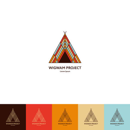 teepee: Set of wigwam . Colorful and line style. Indian teepee with ornamental elements. Boho elements. illustration